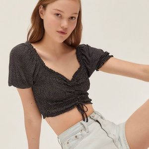 Urban Outfitters Cinched Puff Sleeve Crop Top